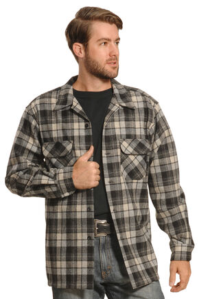 Pendleton Men's Grey Plaid Board Shirt , Grey, hi-res