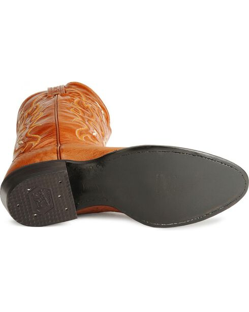 Tony Lama smooth ostrich cowboy boots, Peanut Brittle, hi-res