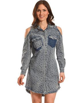 Billy T Women's Rolled Sleeve Denim Cold Shoulder Dress, Blue, hi-res