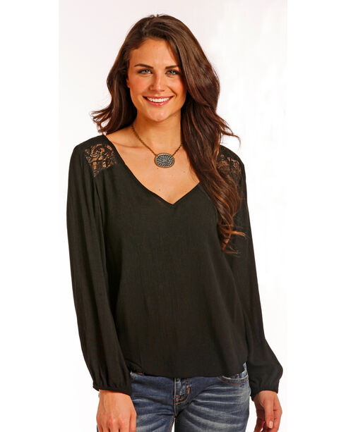 Panhandle Women's Black Lace Shoulder Top , Black, hi-res