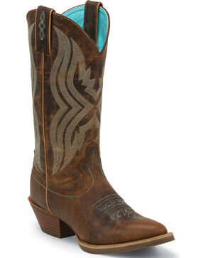 Justin Women's Quinlan Coffee Western Boots - Medium Toe, Brown, hi-res