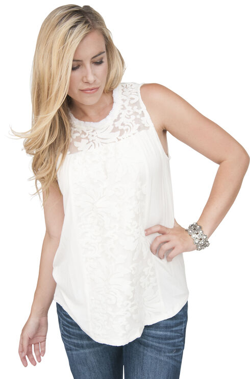 Petrol Women's Touch of Lace Tank, Ivory, hi-res