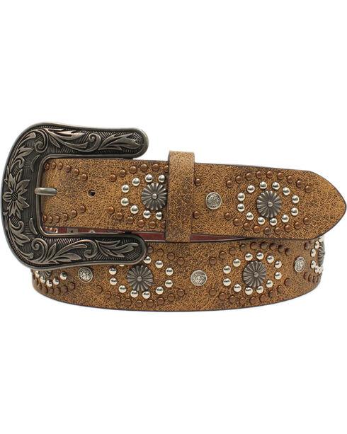 Nocona Women's Distressed Leather Silver Starburst Belt, Brown, hi-res