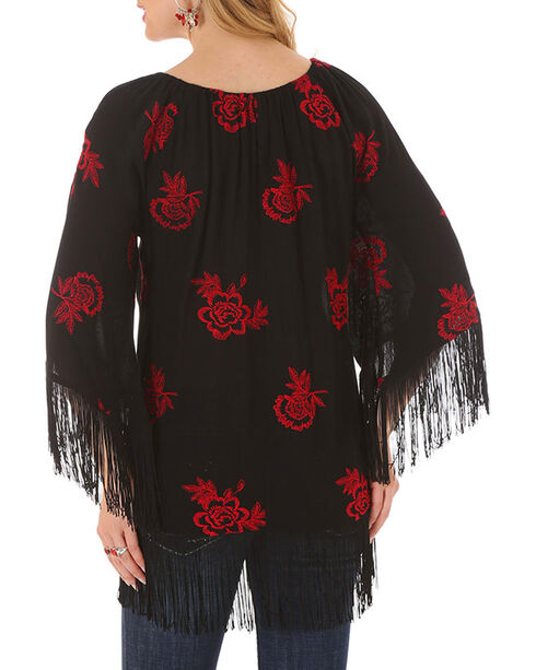 Rock 47 by Wrangler Women's Poppy Fringe Tunic, Black, hi-res