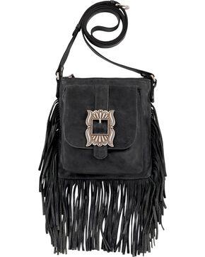 American West Eagle Black Leather Crossbody Bag , Black, hi-res