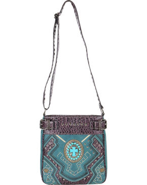 Savana Women's Turquoise Concho Cross Messenger Bag, Turquoise, hi-res