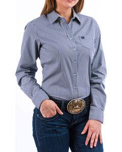 Cinch Women's Light Blue Stripe Long Sleeve Button Down Shirt, Light Blue, hi-res