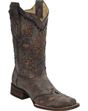 Corral Women's Laser Woven Cowgirl Boots - Square Toe, Tobacco, hi-res