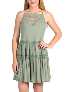 Derek Heart Women's Strappy Tiered Dress, Sage, hi-res