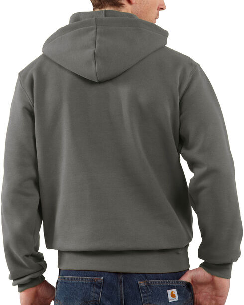 Carhartt Men's Midweight Hooded Logo Sweatshirt - Tall , Charcoal, hi-res