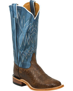 Tony Lama Chocolate Reverse Quill Print Americana Cowgirl Boots - Square Toe, , hi-res