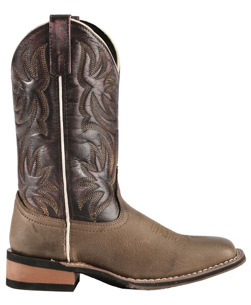 Laredo Fancy Stitched Purple Cowgirl Boots - Square Toe, Dark Brown, hi-res