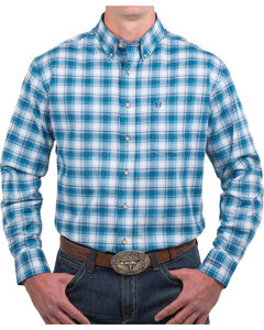 Noble Outfitters Men's Plaid Generous Fit Long Sleeve Shirt, Turquoise, hi-res