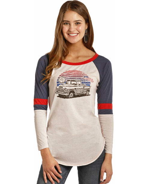 Rock & Roll Cowgirl Women's Vintage Truck Varsity Tee , White, hi-res