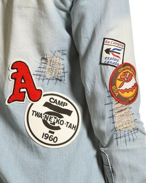Angel Premium Women's Jackie Denim Patch Long Sleeve Shirt, Indigo, hi-res