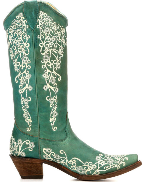 Corral Women's Floral Embroidery Cowgirl Boots - Snip Toe , Turquoise, hi-res