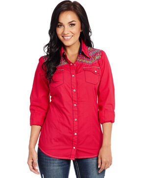 Cowgirl Up Enzyme-Washed Embroidered Woven Shirt , Pink, hi-res