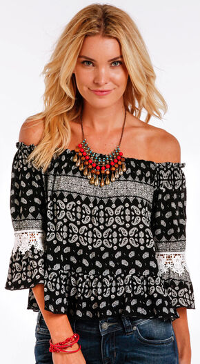 Panhandle Slim Women's Black Paisley Print Off the Shoulder Shirt , Black, hi-res