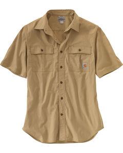 Carhartt Men's Foreman Short Sleeve Work Shirt, Beige, hi-res