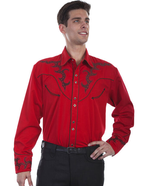 Scully Men's Embroidered Yoke Western Shirt , Red, hi-res
