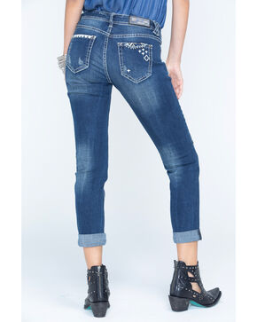 Grace in LA Women's Medium Blue Patchwork Boyfriend Jeans - Cuff, Medium Blue, hi-res