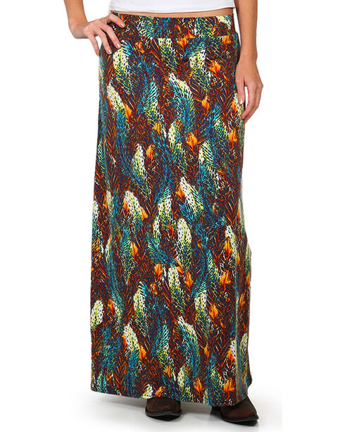 Ariat Women's Feathered Out Maxi Skirt, Multi, hi-res