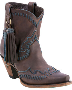 Lane Women's Hoedown Short Boots - Snip Toe , Dark Brown, hi-res
