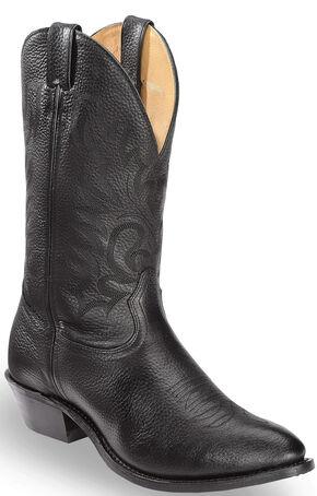 Boulet Fancy Stitched Cowboy Boots - Medium Toe, Black, hi-res