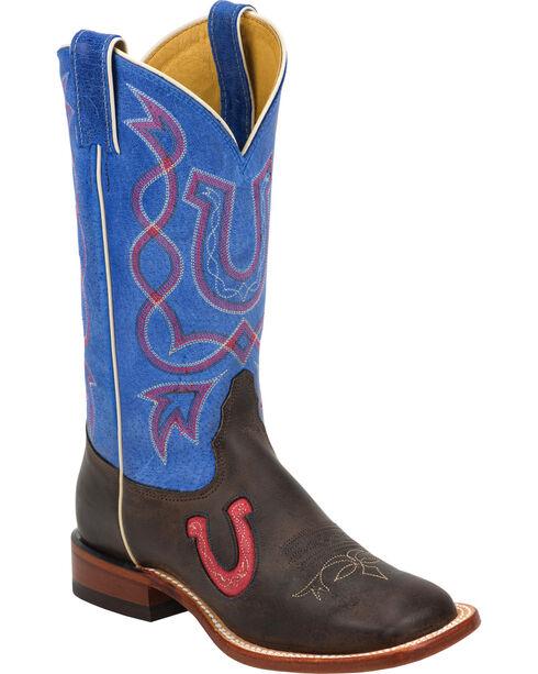 Tony Lama Blue & Chocolate Americana Cowgirl Boots - Square Toe, , hi-res