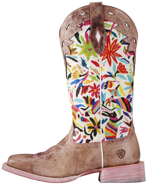 Ariat Pink Women's Performance Circuit Champion Boots - Wide Square Toe, Pink, hi-res