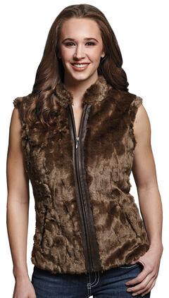 Cripple Creek Women's Faux Fur Brown Sweater Vest, Taupe, hi-res