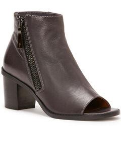 Frye Women's Grey Brielle Zip Peep Booties - Round Toe , Dark Grey, hi-res