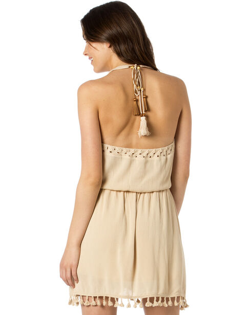 Miss Me Women's No Love Lost Tassel Fringe Dress, Taupe, hi-res