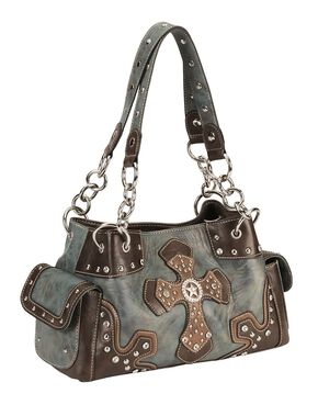 Blazin Roxx Blue Star Cross Satchel, Blue, hi-res