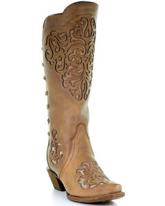 Corral Women's Brown Cowhide with Inlays and Back Laced Cowgirl Boots - Snip Toe, , hi-res