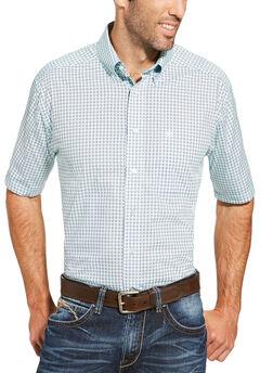 Ariat Men's Light Blue Freeport Print Shirt - Big and Tall, Light Blue, hi-res