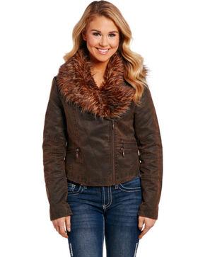Cripple Creek Women's Asymmetric Faux Fur Jacket, Brown, hi-res