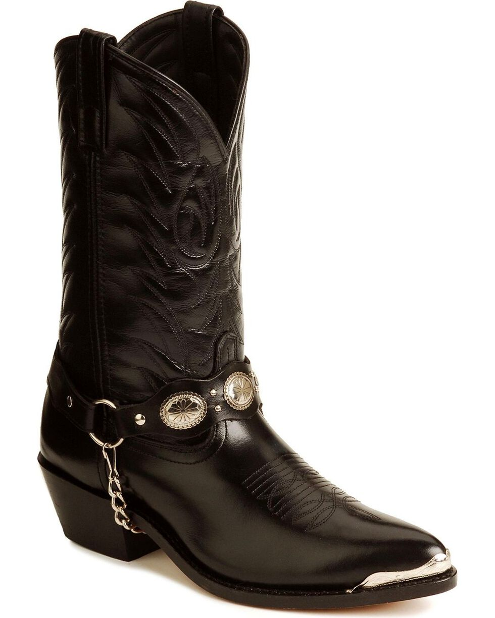 Laredo Concho Harness Boots, Black, hi-res