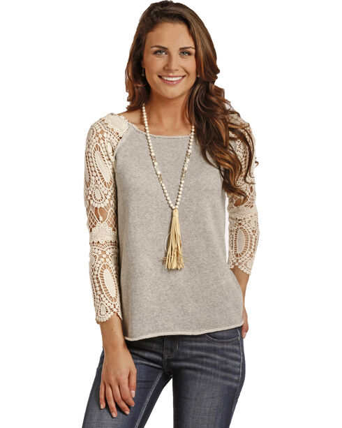 Rock & Roll Cowgirl Women's Crochet Sleeve Terry Pullover, Grey, hi-res