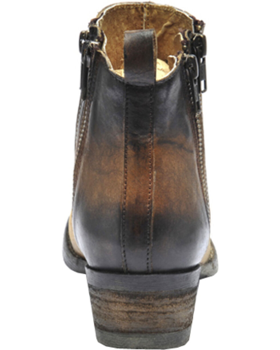 Circle G Burnished Double Zipper Short Boots - Round Toe, Brown, hi-res