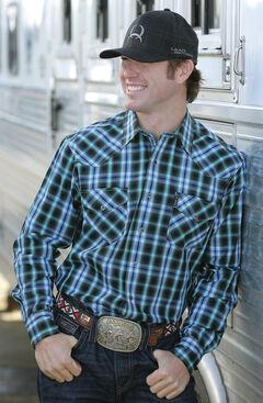 Cinch Men's Black and Blue Modern Fit Snap Western Shirt  , Black, hi-res