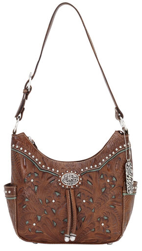 American West Lady Leather Hobo Bag, Brown, hi-res