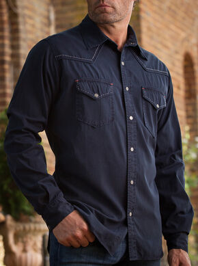 Ryan Michael Men's Navy Pick Stitch Silk Gabardine Shirt , Navy, hi-res