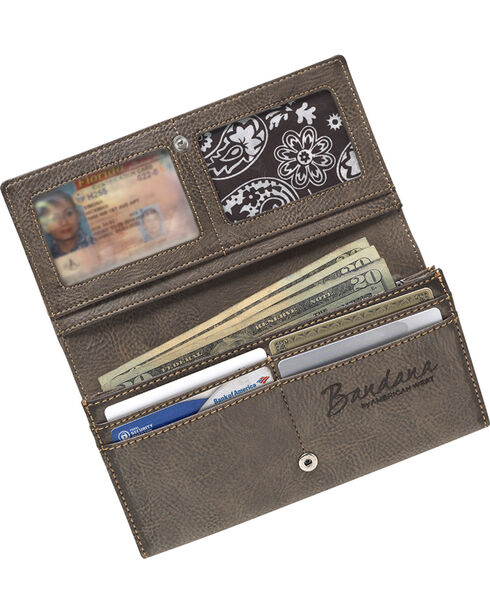 Bandana by American West Women's Guns and Roses Flap Wallet, Chocolate, hi-res