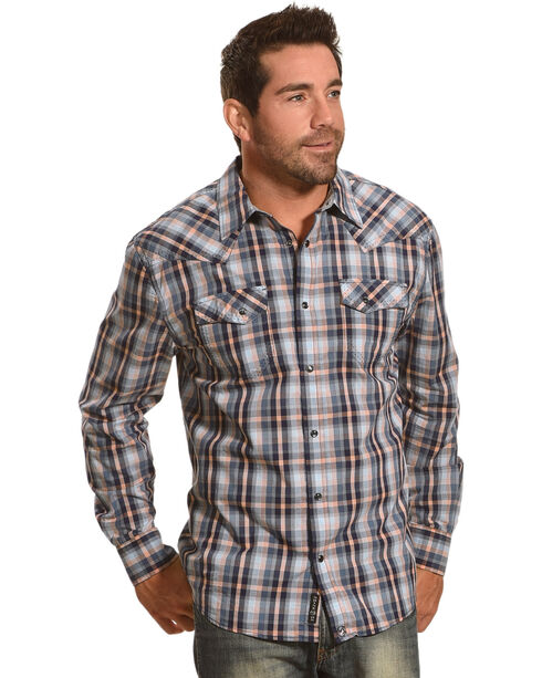 Moonshine Spirit Men's Plaid Long Sleeve Shirt, Blue, hi-res