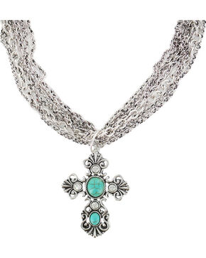 Shyanne Women's Multi Chain Cross Necklace , Turquoise, hi-res