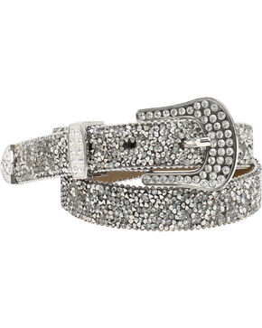 "Ariat 1"" Cluster Crystall Rhinestone Belt, Silver, hi-res"