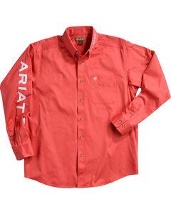 Ariat Men's Solid Casual Classic Twill Logo Shirt, Red, hi-res
