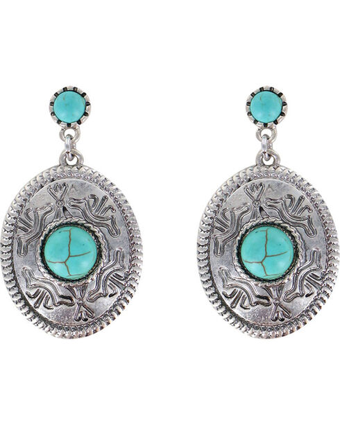 Shyanne Women's Dangling Concho Earrings, Turquoise, hi-res