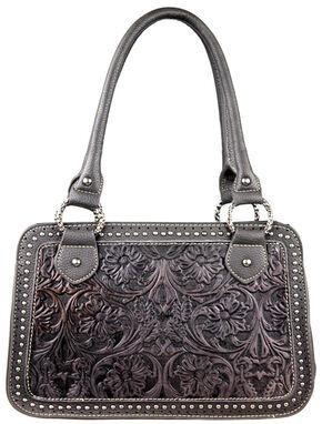 Montana West Trinity Ranch Tooled Handbag with Studs, Black, hi-res